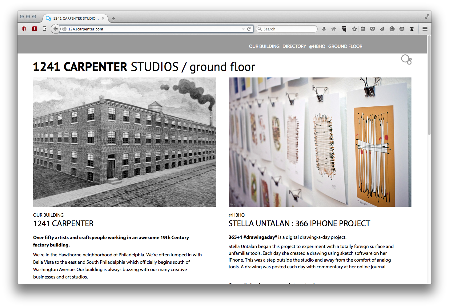Welcome screen for 1241 Carpenter creative community
