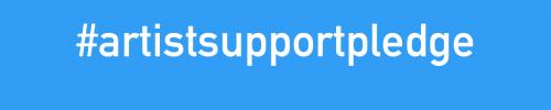 Artist Support Pledge Bubble Blue graphic