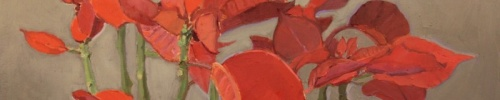Leo Robinson, Poinsettia, 2016, 11 x 16, oil on panel, Heavybubble