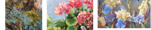spring, welcome, exhibit, Teresa Farina, McWilliams, tulips, flowers, iris, blue yellow, Oriental lilies, geraniums, pink, green, red, trees, landscape, flower pots, gardening, art show, oil, pastel, watercolor