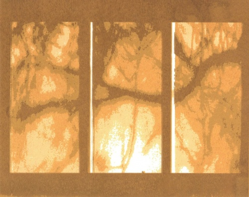 tree branch extends horizontally across three vertical panels