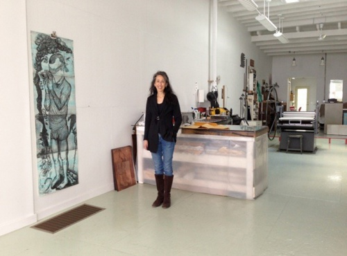 Cindi Ettinger in her etching studio