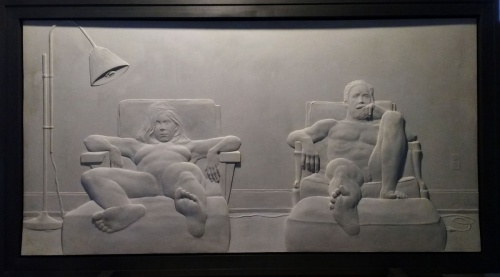 relief, sculpture, nude, woodmere, cement, domestic interior, television