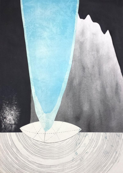 Rebecca Gilbert: Cave, woodcut, screen print, Xerox transfer, charcoal