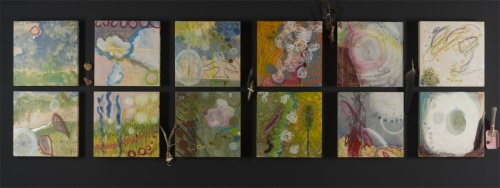 Turnings a twelve panel mixed media piece by Damini Celebre