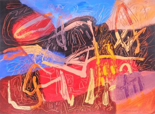 "Catalonia VI, Barcelona, by Jacqueline Unanue, acrylic on paper, 2013, 18"" x 23.5"" (46 x 60 cm)"