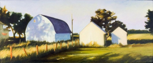 evening shadows, Warm Beer Farm II by painter Mary Gordon