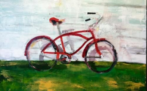 painting of a bicycle by Sue McKee. New work