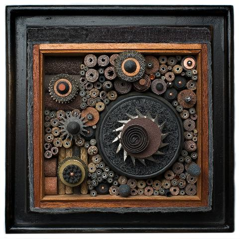 "artwork by Carol Wisker Artist, urban machine, mixed media. 12"" x 12"""