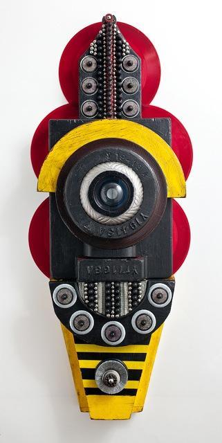 Oracle , Carol Wisker,Mixed media on wood, convex lens