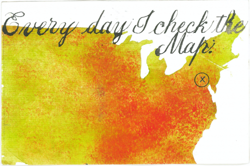 """Barbara Henry postcard """"Every Day I Check the Map"""""""