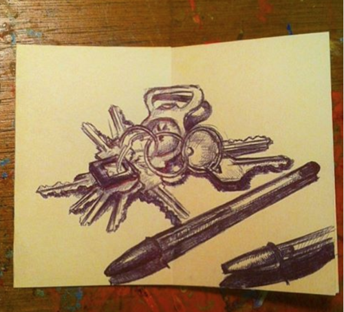 Keys and Bic Pens by Mike Lewis
