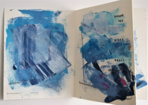 Notion no. 64: too blue, a ritual meditation book of type and painting