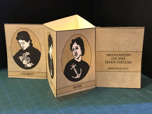 Meditation on the Seven Virtues (the single page version) - book with illustrations on hope, charity, love, with illumination by LED candle.