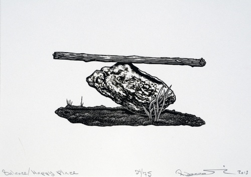 Balance/Happy Place, wood engraving, Rebecca Gilbert