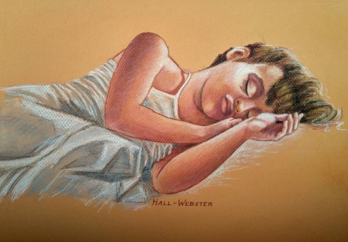 This is a pastel drawing of a sleeping child with the morning light falling on her figure.