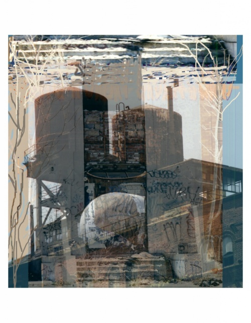 "This piece is from my series ""Urban Ruins"" on the demolition of the Jack Frost Sugar Refinery. It is a Photoshop Digital collage."