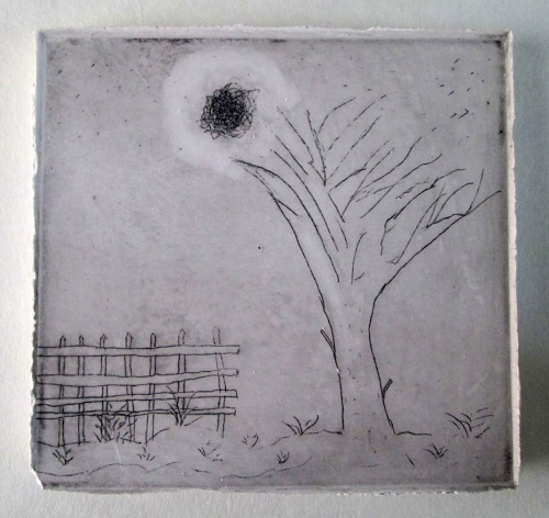 Etching printed on plaster