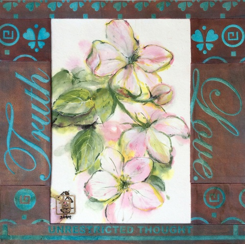 Apple Blossoms, text of unrestricted thought with love and truth