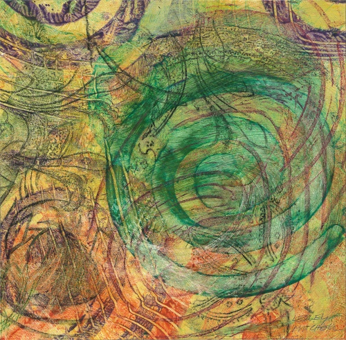 Spiral Maze #1, drawing on paste paper by Lesley Mitchell
