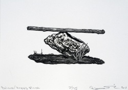 Balance/Happy Place, wood engraving, Rebecca Gilbert