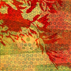 red orange leaves against red and yellow textured background