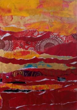 Scherzo in Red and Gold, mixed media painting by Tom Hlas