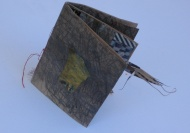 open one sheet book from drawing with collage and found object, stitching, front