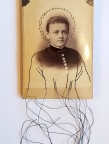 Maryann Riker - The Saint of Repressed Anticipation - Stitched cabinet card of young woman depicted as sainted icon with stitched halo of pearls